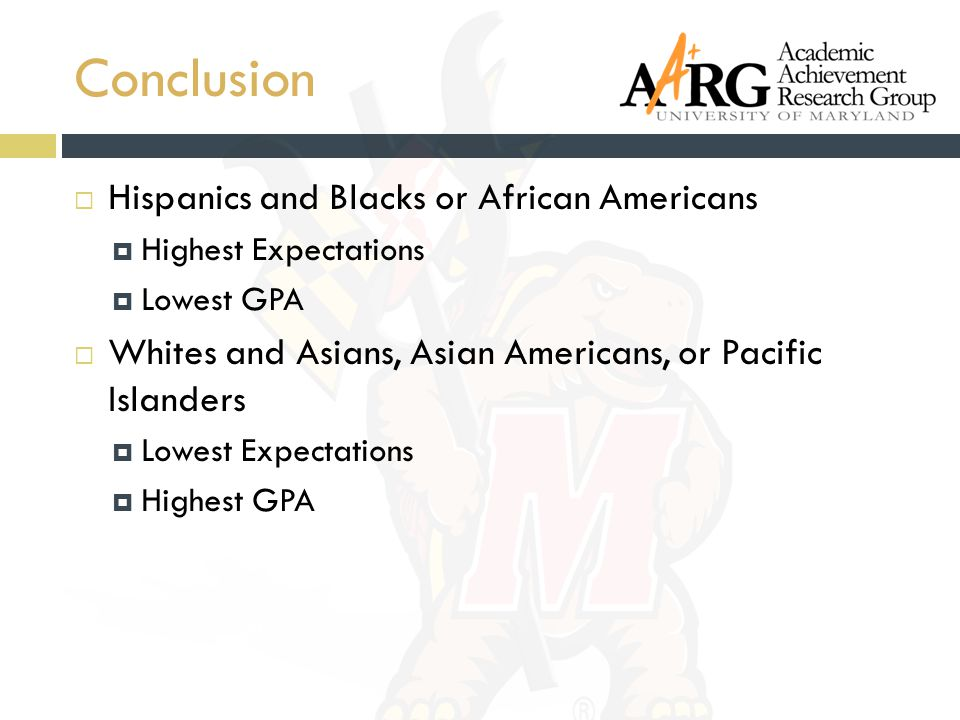 Conclusion  Hispanics and Blacks or African Americans  Highest Expectations  Lowest GPA  Whites and Asians, Asian Americans, or Pacific Islanders  Lowest Expectations  Highest GPA