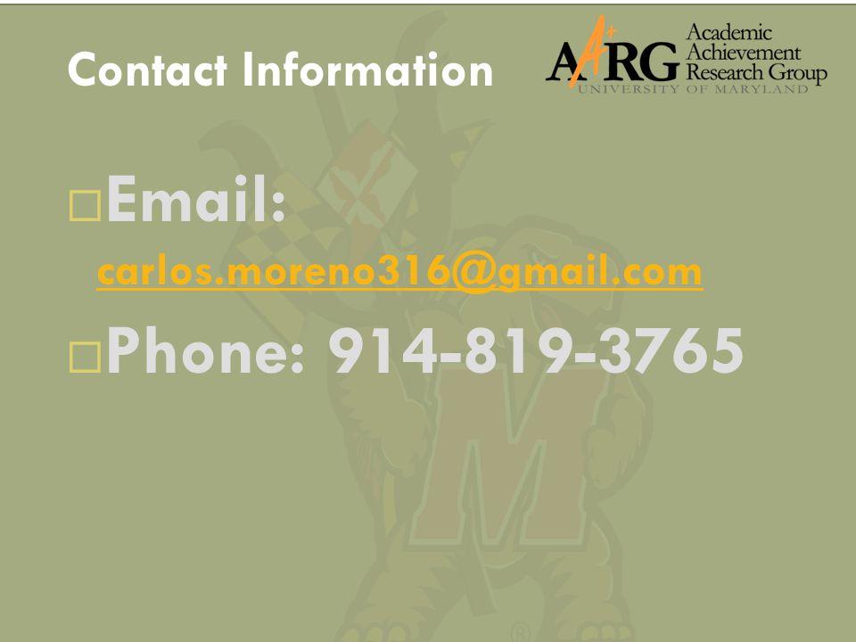 Email: carlos.moreno316@gmail.com carlos.moreno316@gmail.com  Phone: 914-819-3765 Contact Information