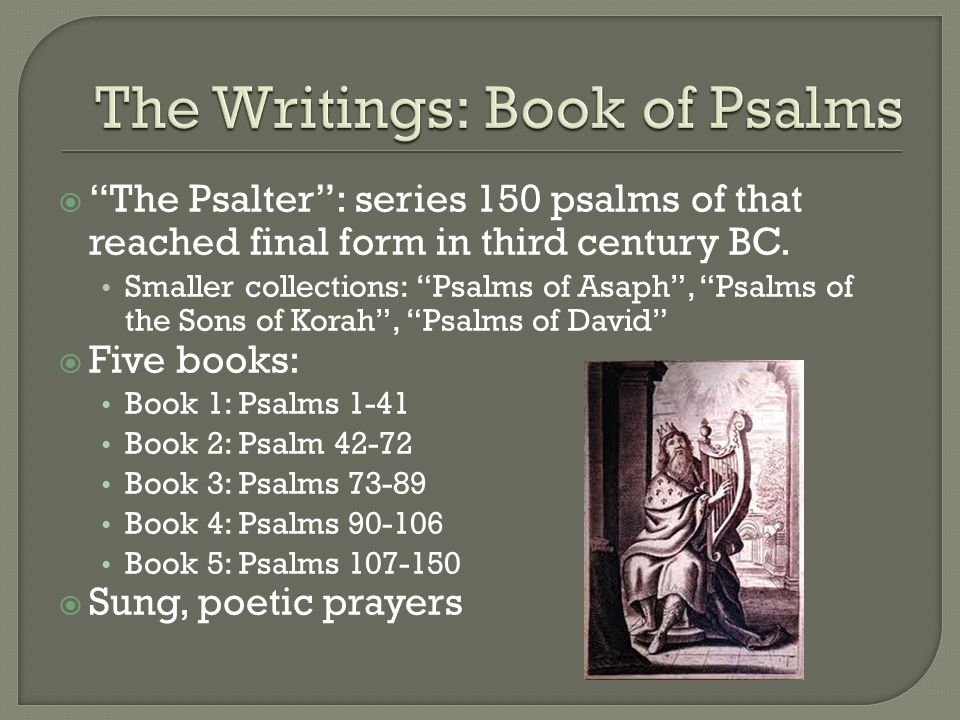  The Psalter : series 150 psalms of that reached final form in third century BC.