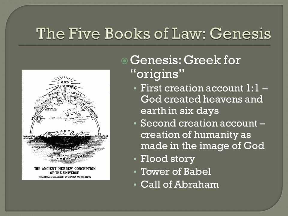  Genesis: Greek for origins First creation account 1:1 – God created heavens and earth in six days Second creation account – creation of humanity as made in the image of God Flood story Tower of Babel Call of Abraham