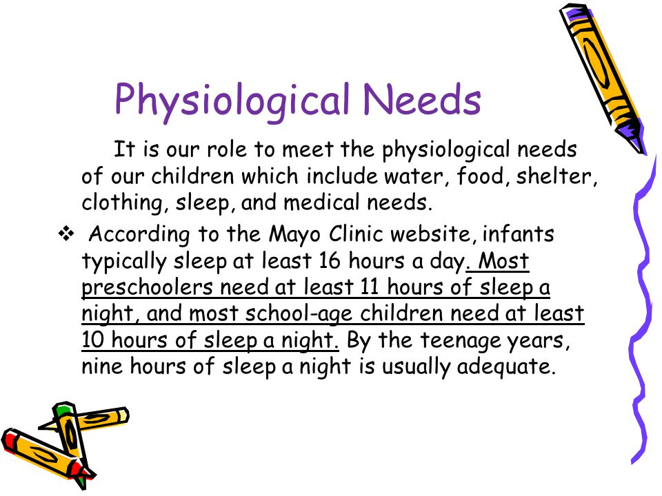 Physiological Needs It is our role to meet the physiological needs of our children which include water, food, shelter, clothing, sleep, and medical needs.