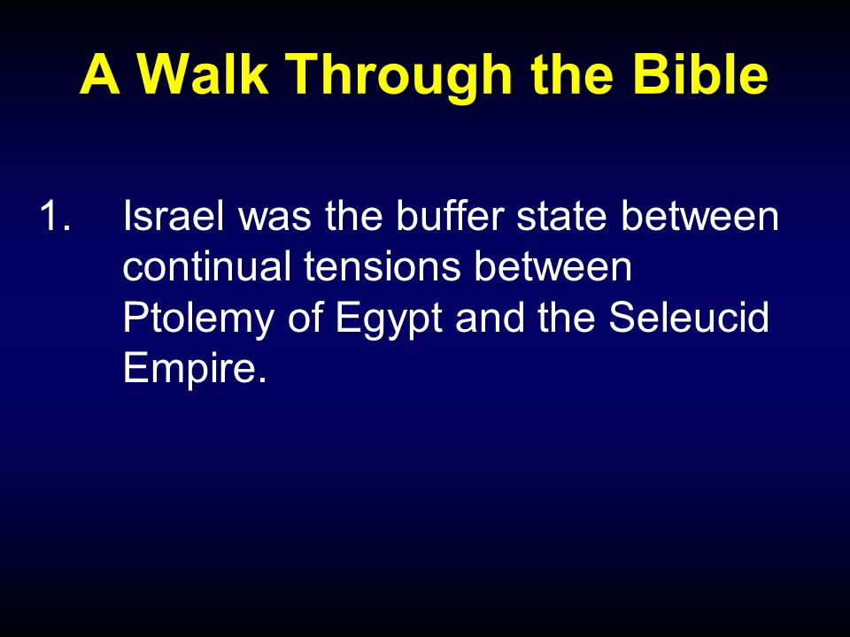 A Walk Through the Bible 1.Israel was the buffer state between continual tensions between Ptolemy of Egypt and the Seleucid Empire.