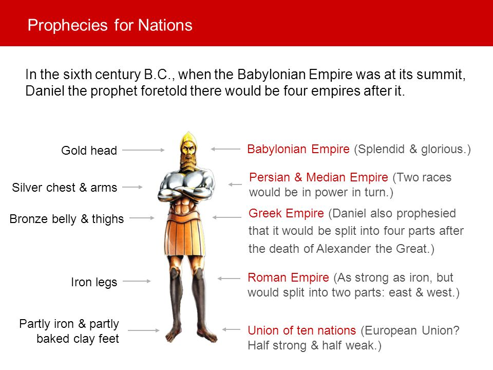 Babylonian Empire (Splendid & glorious.) Persian & Median Empire (Two races would be in power in turn.) Greek Empire (Daniel also prophesied that it w