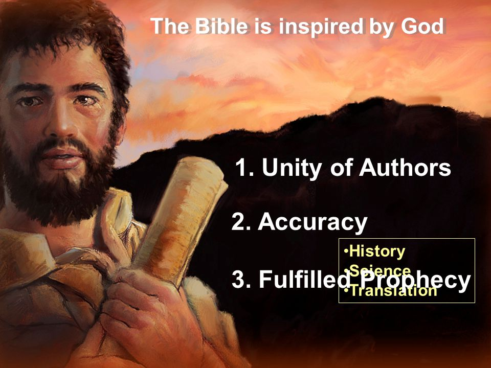 The Bible is inspired by God 1.Unity of Authors 2.