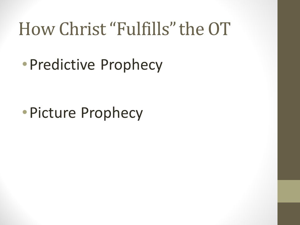 How Christ Fulfills the OT Predictive Prophecy Picture Prophecy