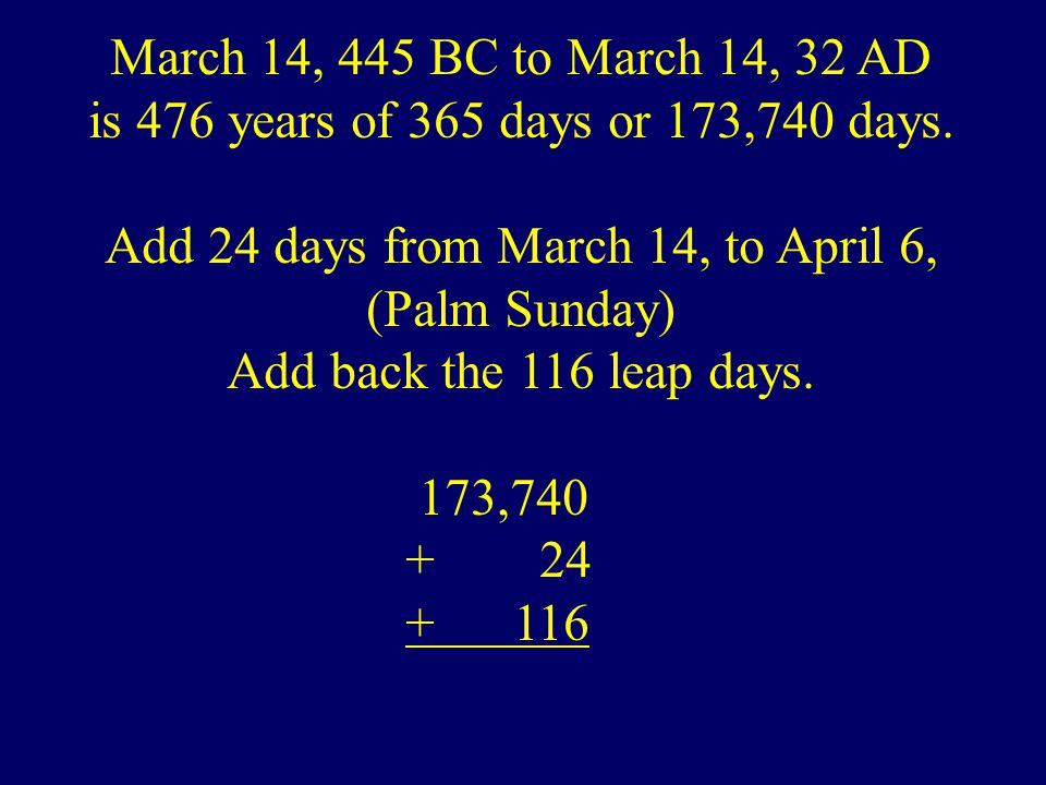 March 14, 445 BC to March 14, 32 AD is 476 years of 365 days or 173,740 days.