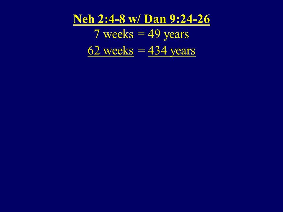 62 weeks = 434 years