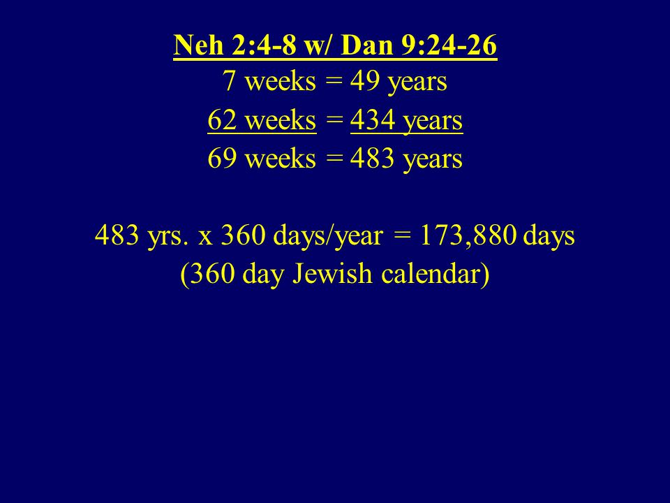 Neh 2:4-8 w/ Dan 9:24-26 7 weeks = 49 years 62 weeks = 434 years 69 weeks = 483 years 483 yrs.