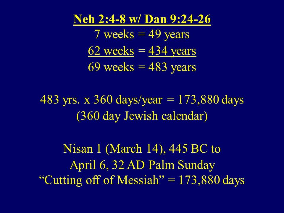 Neh 2:4-8 w/ Dan 9:24-26 7 weeks = 49 years 62 weeks = 434 years 69 weeks = 483 years 483 yrs.