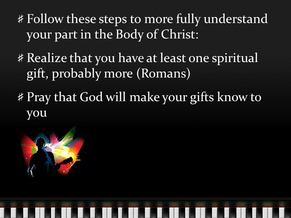 Follow these steps to more fully understand your part in the Body of Christ: Realize that you have at least one spiritual gift, probably more (Romans) Pray that God will make your gifts know to you