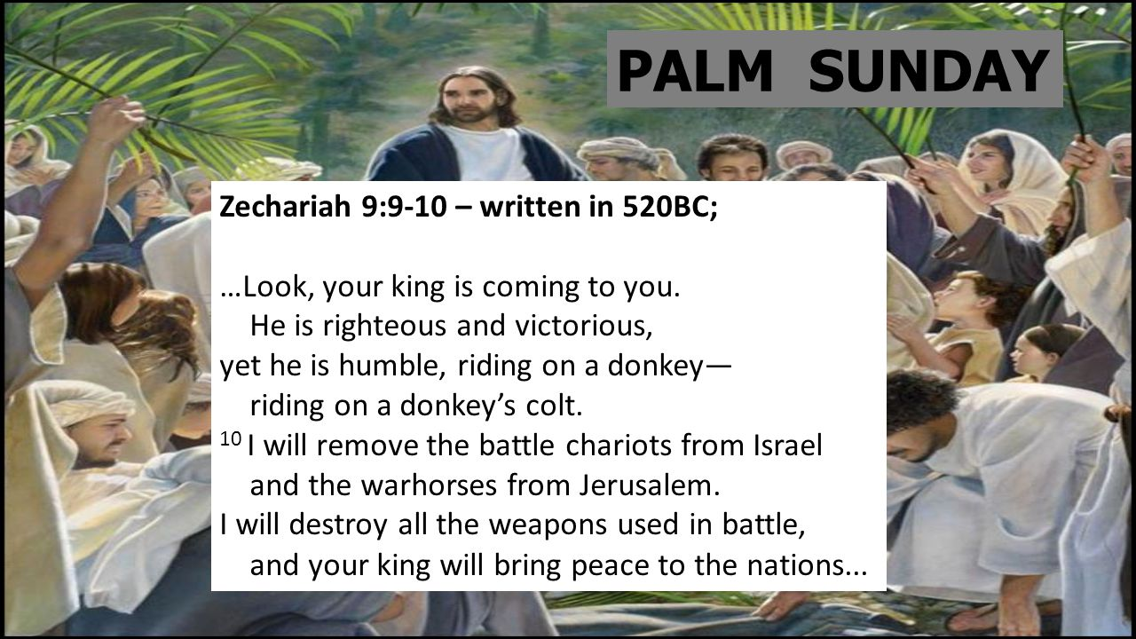 PALM SUNDAY Zechariah 9:9-10 – written in 520BC; …Look, your king is coming to you.