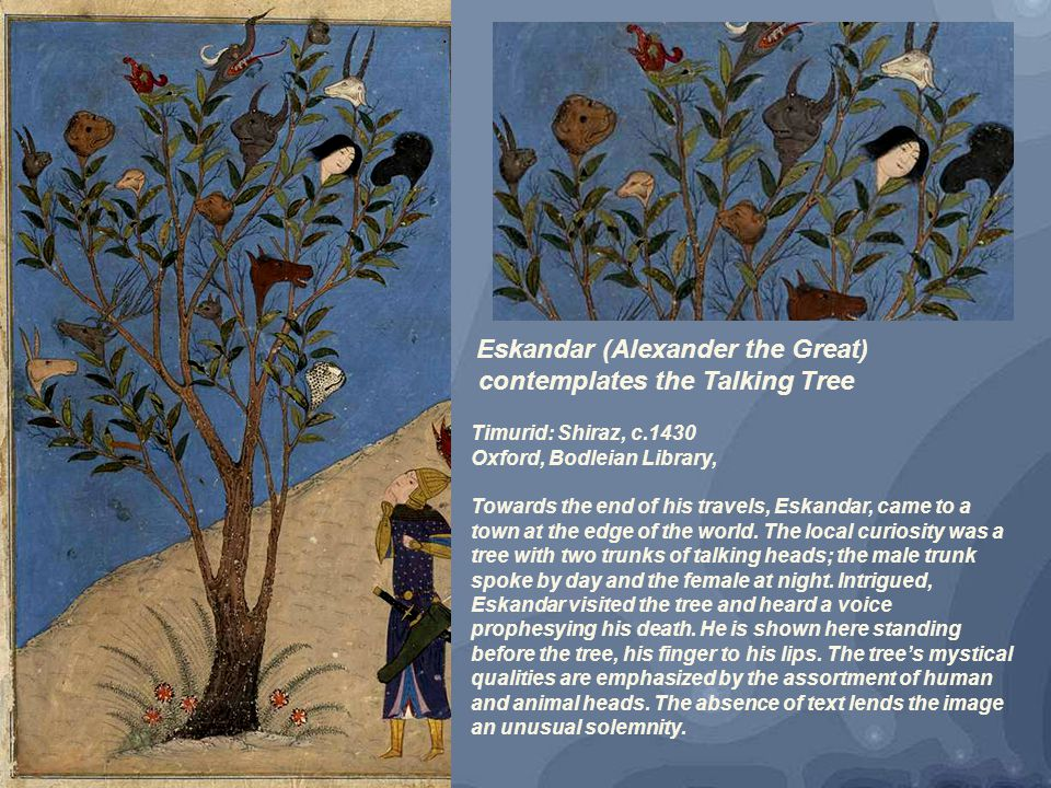 Eskandar (Alexander the Great) contemplates the Talking Tree Timurid: Shiraz, c.1430 Oxford, Bodleian Library, Towards the end of his travels, Eskandar, came to a town at the edge of the world.