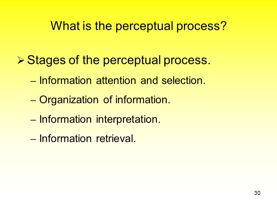 What is the perceptual process.  Stages of the perceptual process.