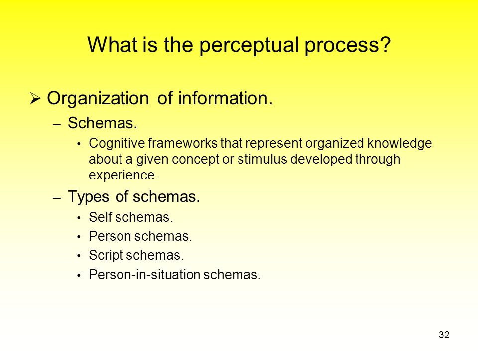 What is the perceptual process.  Organization of information.