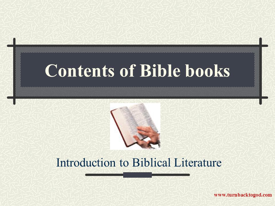 Historical books 17 books Pentateuch Pre-exile (before Babylonian conquest) Post-exile (after return from Babylon) www.turnbacktogod.com