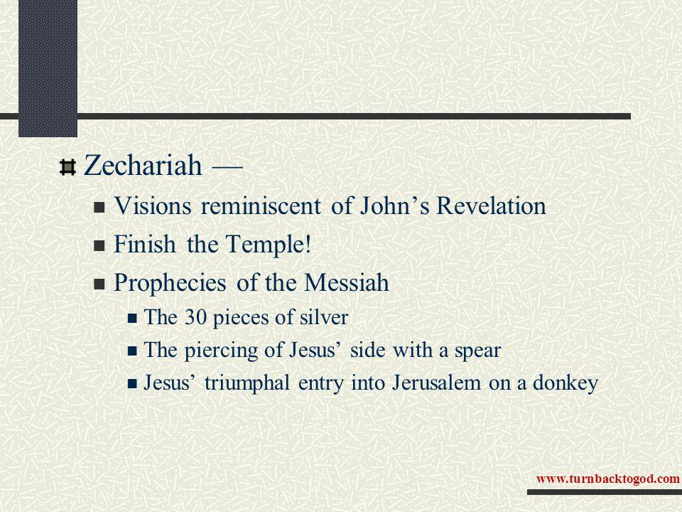 Zechariah — Visions reminiscent of John's Revelation Finish the Temple.