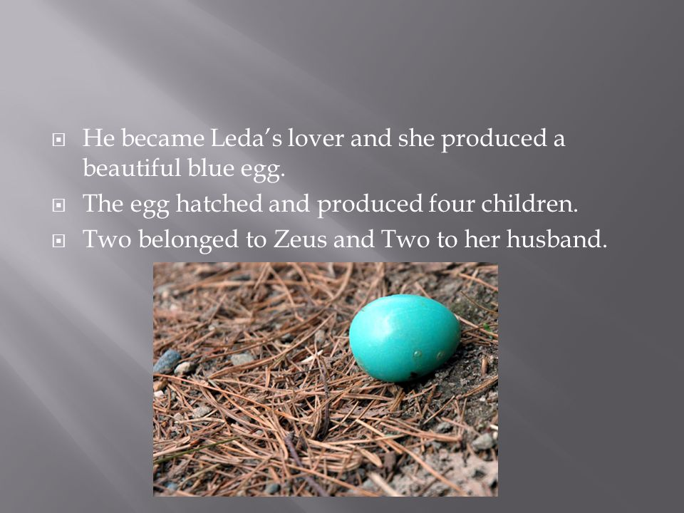  He became Leda's lover and she produced a beautiful blue egg.
