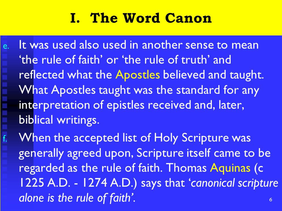 7 I.The Word Canon g.