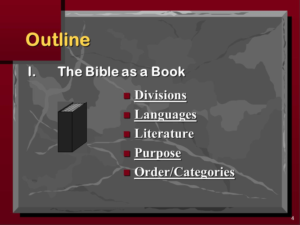 3 OUTLINE: Two Major Points I.The Bible as a Book II.The Origin of the Bible