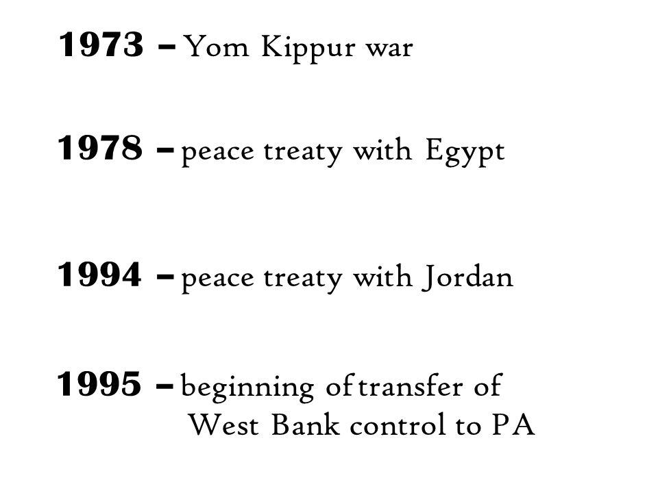 1973 – Yom Kippur war 1978 – peace treaty with Egypt 1995 – beginning of transfer of West Bank control to PA 1994 – peace treaty with Jordan