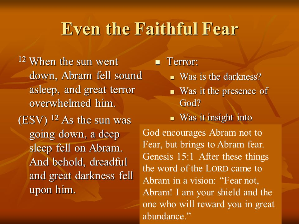 Even the Faithful Fear 12 When the sun went down, Abram fell sound asleep, and great terror overwhelmed him.