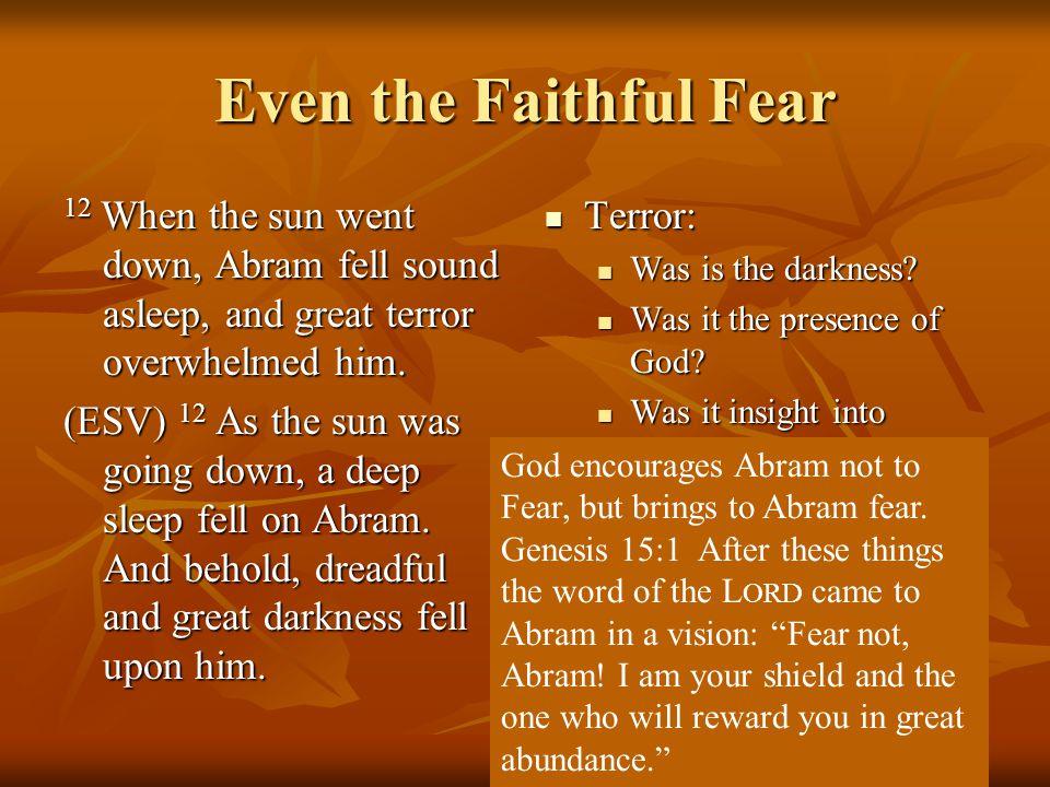 Even the Faithful Fear 12 When the sun went down, Abram fell sound asleep, and great terror overwhelmed him.