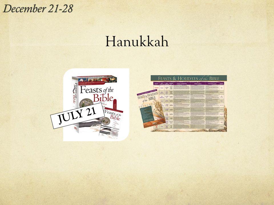 Hanukkah December 21-28December 21-28 JULY 21