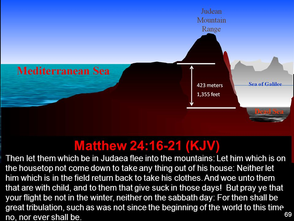 Matthew 24:16-21 (KJV) Then let them which be in Judaea flee into the mountains: Let him which is on the housetop not come down to take any thing out