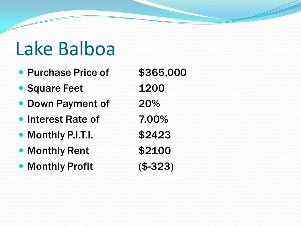 Lake Balboa Purchase Price of $365,000 Square Feet1200 Down Payment of 20% Interest Rate of 7.00% Monthly P.I.T.I. $2423 Monthly Rent $2100 Monthly Pr