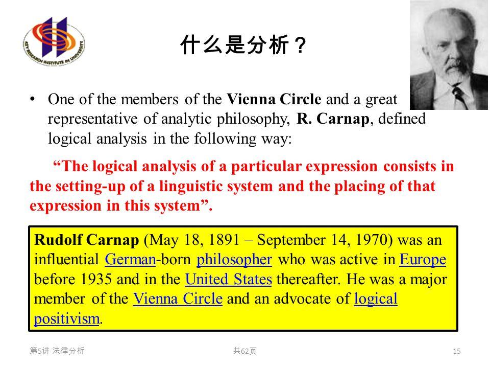 什么是分析? One of the members of the Vienna Circle and a great representative of analytic philosophy, R. Carnap, defined logical analysis in the following