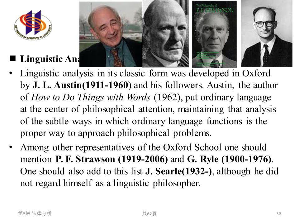 语言学分析 Linguistic Analysis Linguistic analysis in its classic form was developed in Oxford by J. L. Austin(1911-1960) and his followers. Austin, the au