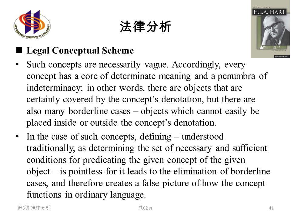 法律分析 Legal Conceptual Scheme Such concepts are necessarily vague. Accordingly, every concept has a core of determinate meaning and a penumbra of indet