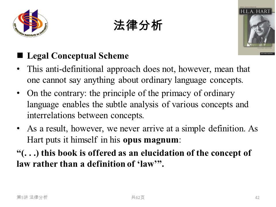 法律分析 Legal Conceptual Scheme This anti-definitional approach does not, however, mean that one cannot say anything about ordinary language concepts. On