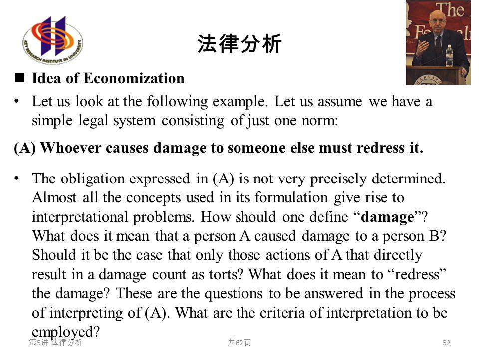 法律分析 Idea of Economization Let us look at the following example. Let us assume we have a simple legal system consisting of just one norm: (A) Whoever