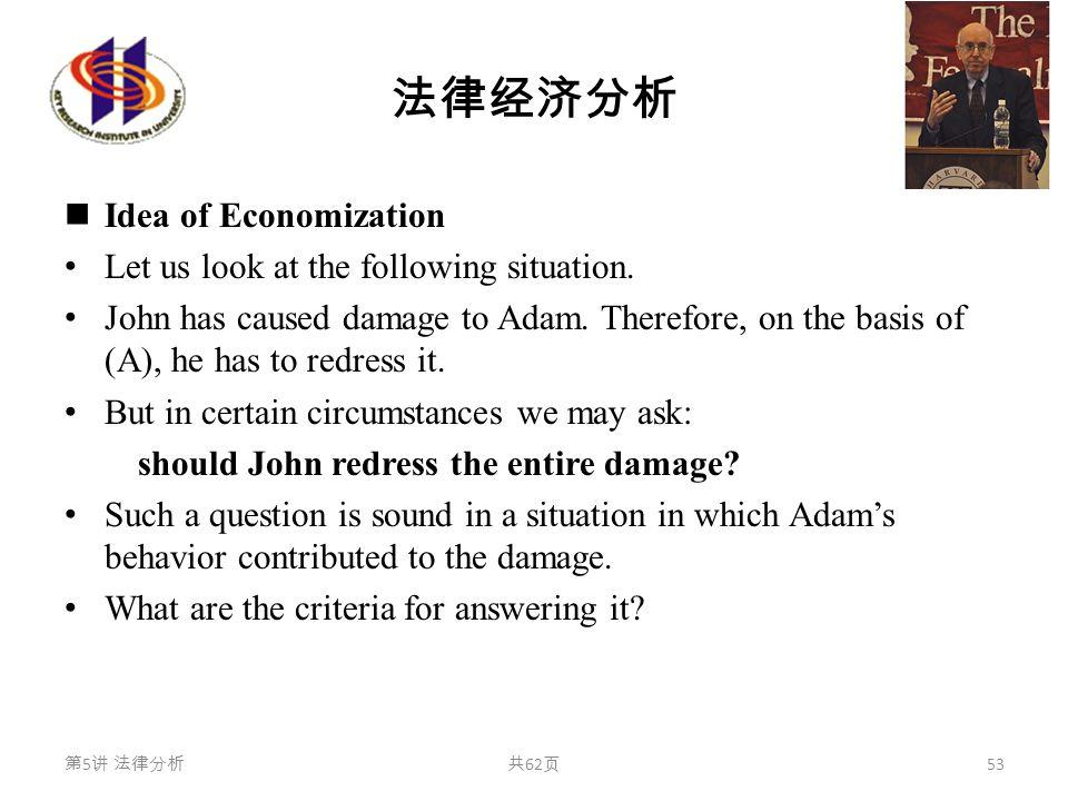法律经济分析 Idea of Economization Let us look at the following situation. John has caused damage to Adam. Therefore, on the basis of (A), he has to redress