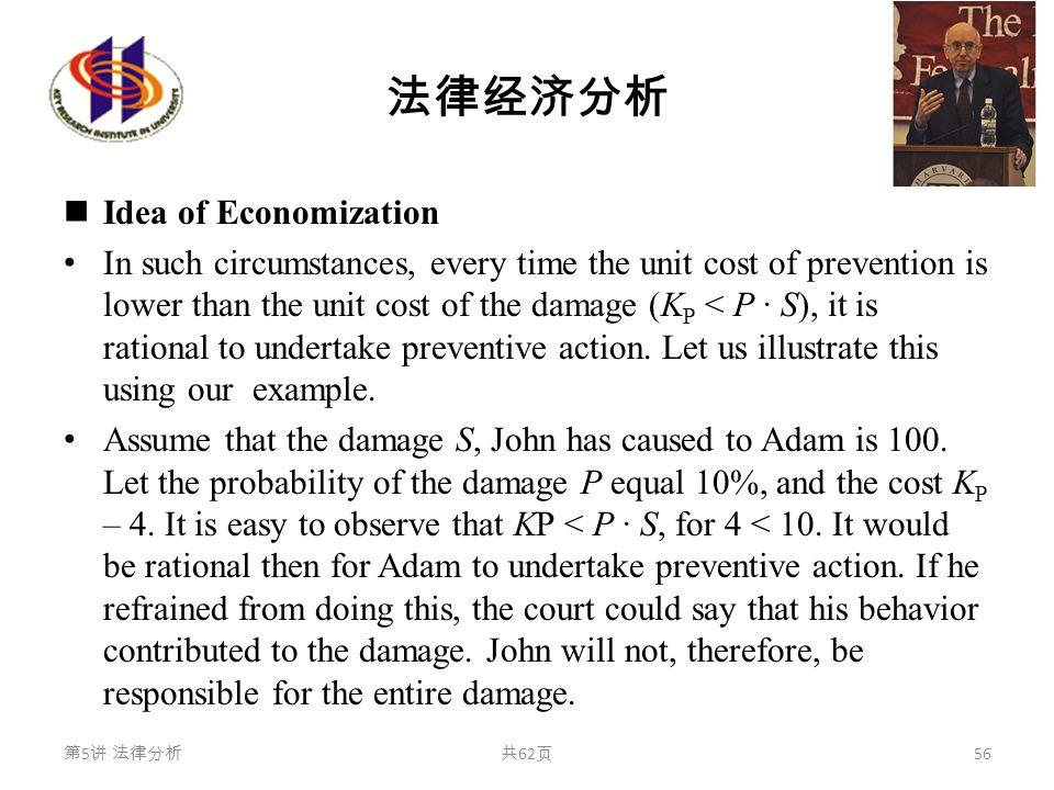 法律经济分析 Idea of Economization In such circumstances, every time the unit cost of prevention is lower than the unit cost of the damage (K P < P · S), it