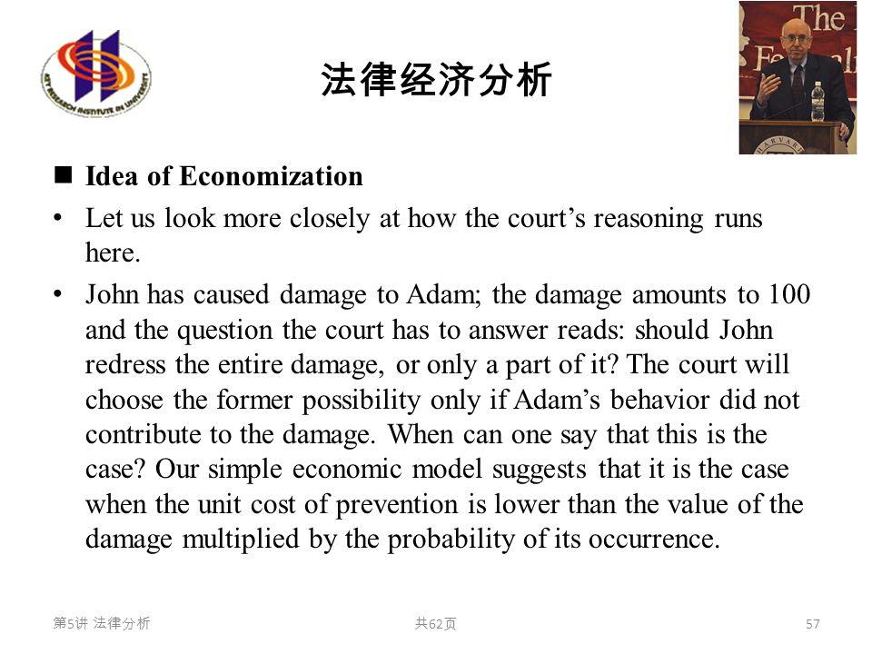 法律经济分析 Idea of Economization Let us look more closely at how the court's reasoning runs here. John has caused damage to Adam; the damage amounts to 10