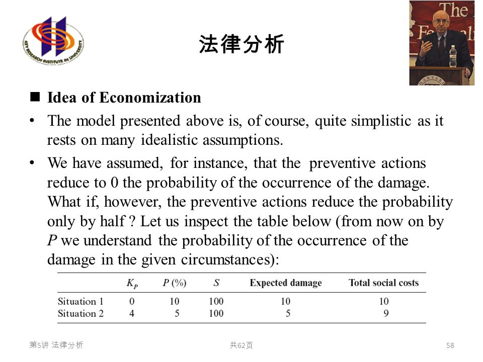 法律分析 Idea of Economization The model presented above is, of course, quite simplistic as it rests on many idealistic assumptions.