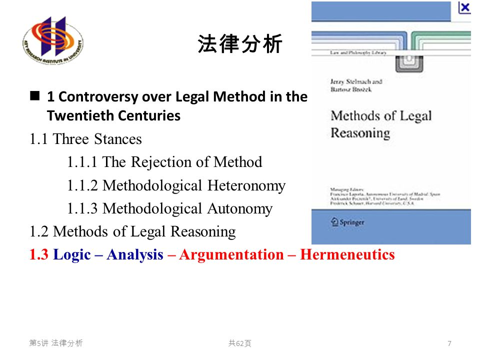 法律分析 1 Controversy over Legal Method in the Nineteenth and Twentieth Centuries 1.1 Three Stances 1.1.1 The Rejection of Method 1.1.2 Methodological Heteronomy 1.1.3 Methodological Autonomy 1.2 Methods of Legal Reasoning 1.3 Logic – Analysis – Argumentation – Hermeneutics 第 5 讲 法律分析共 62 页 7