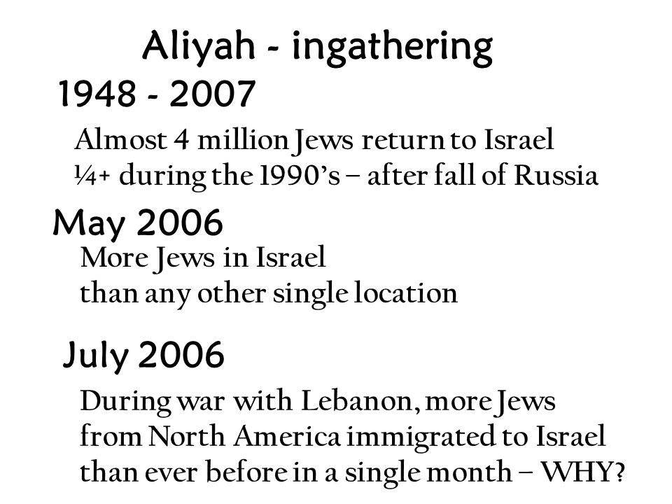 Aliyah - ingathering 1948 - 2007 July 2006 During war with Lebanon, more Jews from North America immigrated to Israel than ever before in a single month – WHY.