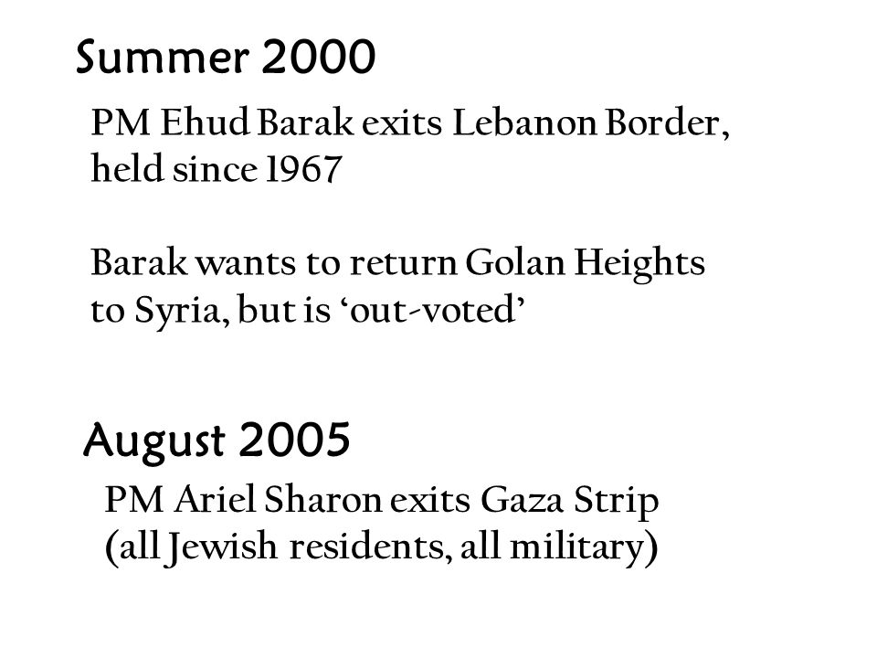 Summer 2000 PM Ehud Barak exits Lebanon Border, held since 1967 Barak wants to return Golan Heights to Syria, but is 'out-voted' August 2005 PM Ariel Sharon exits Gaza Strip (all Jewish residents, all military)