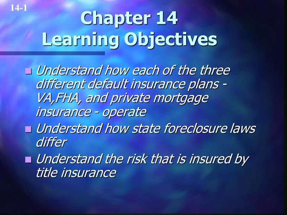Chapter 14 Learning Objectives Understand how each of the three different default insurance plans - VA,FHA, and private mortgage insurance - operate U
