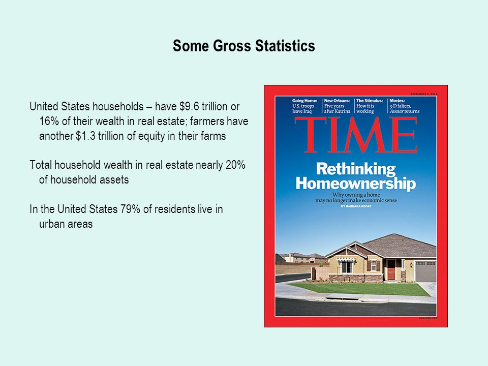 Some Gross Statistics United States households – have $9.6 trillion or 16% of their wealth in real estate; farmers have another $1.3 trillion of equity in their farms Total household wealth in real estate nearly 20% of household assets In the United States 79% of residents live in urban areas