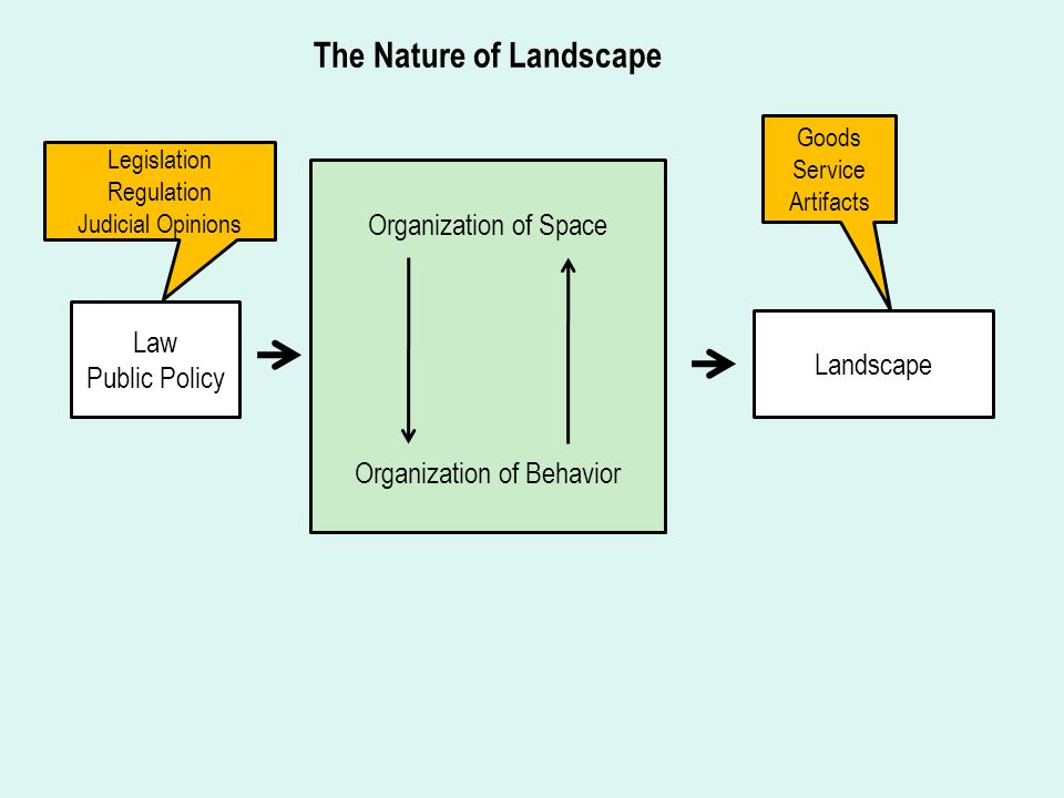 Organization of Space Organization of Behavior Law Public Policy Landscape The Nature of Landscape Goods Service Artifacts Legislation Regulation Judicial Opinions