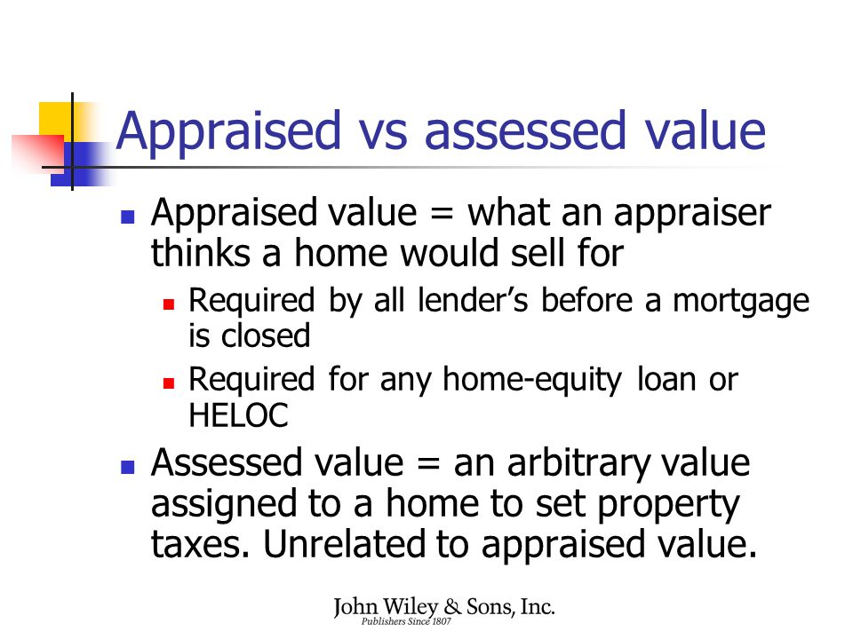 Appraised vs assessed value Appraised value = what an appraiser thinks a home would sell for Required by all lender's before a mortgage is closed Required for any home-equity loan or HELOC Assessed value = an arbitrary value assigned to a home to set property taxes.