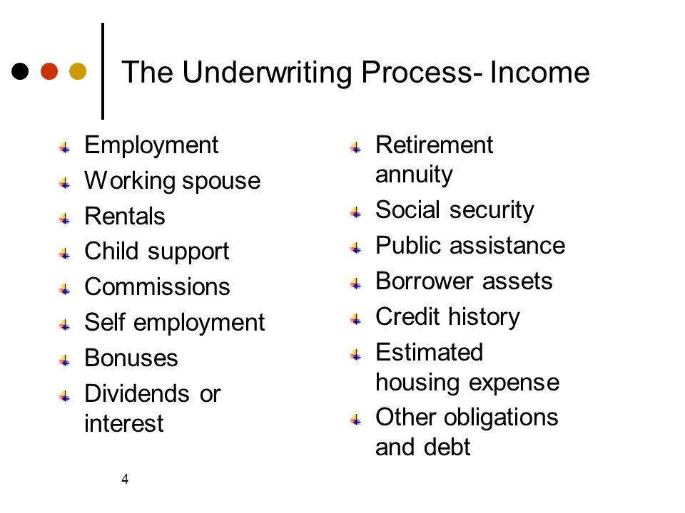© 2005 The McGraw-Hill Companies, Inc., All Rights Reserved McGraw-Hill/Irwin Slide 4 4 The Underwriting Process- Income Employment Working spouse Rentals Child support Commissions Self employment Bonuses Dividends or interest Retirement annuity Social security Public assistance Borrower assets Credit history Estimated housing expense Other obligations and debt