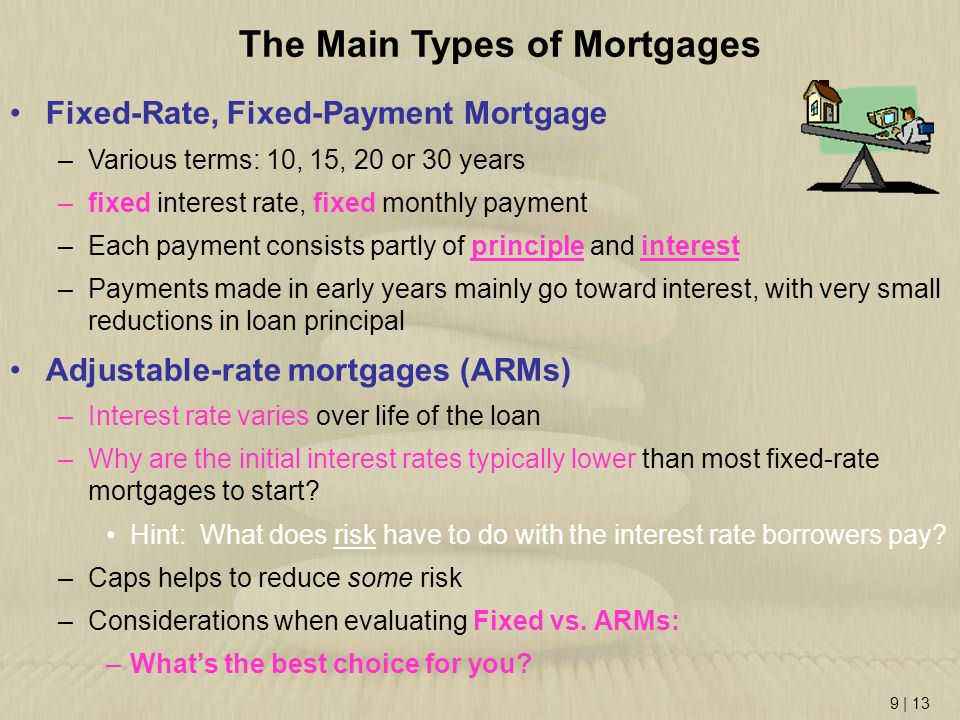 9 | 13 Fixed-Rate, Fixed-Payment Mortgage –Various terms: 10, 15, 20 or 30 years –fixed interest rate, fixed monthly payment –Each payment consists pa