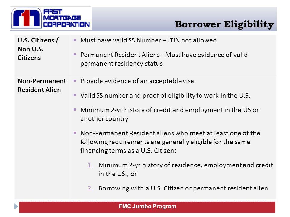 Borrower Eligibility U.S. Citizens / Non U.S.
