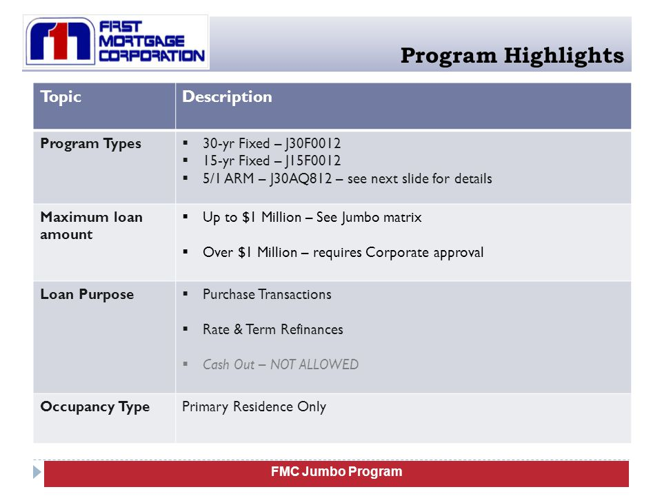 FMC Jumbo Program Program Highlights TopicDescription ARM Eligibility  5/1 Libor Index  Margin: 2.25%  Caps: 2/2/5  Qualify: The higher of :  Fully Indexed rate (Index plus margin), OR  Initial Note rate plus 2%  Conversion: Not allowed