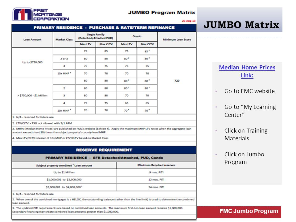 JUMBO Matrix FMC Jumbo Program Median Home Prices Link: Go to FMC website Go to My Learning Center Click on Training Materials Click on Jumbo Program